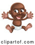 Cartoon Vector of Happy Black Baby Boy in a Diaper, Holding His Arms up by AtStockIllustration
