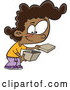 Cartoon Vector of Happy Black Girl Opening a Box by Toonaday