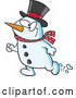 Cartoon Vector of Happy Christmas Snowman Walking by Toonaday