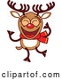 Cartoon Vector of Happy Dancing Christmas Rudolph Reindeer by Zooco