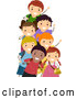 Cartoon Vector of Happy Diverse School Kids Waving by BNP Design Studio