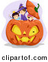 Cartoon Vector of Happy Halloween Kids Playing in a Giant Jack O'Lantern Pumpkin by BNP Design Studio