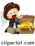 Cartoon Vector of Happy Pirate Boy Opening Treasure Chest Full of Gold and Jewels by BNP Design Studio