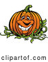 Cartoon Vector of Happy Pumpkin Mascot on the Vine by Chromaco