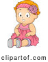 Cartoon Vector of Happy Red Haired Toddler Girl Sitting in a Pink Dress by BNP Design Studio