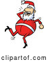 Cartoon Vector of Happy Santa Dancing with a Cell Phone by Holger Bogen