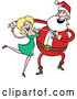 Cartoon Vector of Happy Santa Dancing with Pretty Blond Girl by