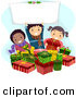 Cartoon Vector of Kids with Gifts, Holding a Blank Sign on Christmas by BNP Design Studio
