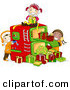 Cartoon Vector of Kids Working in a Gift Factory During Christmas by BNP Design Studio