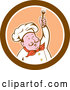 Cartoon Vector of Male Chef Holding up a Fork in a Brown Orange and White Circle by Patrimonio