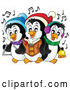 Cartoon Vector of Penguins Singing Christmas Carols by Visekart