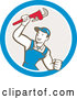 Cartoon Vector of Retro Caucasian Male Plumber Holding up a Monkey Wrench in a Blue White and Taupe Circle by Patrimonio