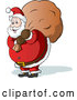 Cartoon Vector of Santa Carrying Full Sack of Toys by Holger Bogen