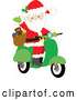 Cartoon Vector of Santa Claus Waving and Driving a Christmas Scooter by Maria Bell