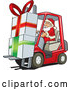 Cartoon Vector of Santa Delivering Big Presents with Forklift by David Rey