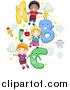Cartoon Vector of School Kids with a B C Letters by BNP Design Studio