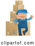 Cartoon Vector of Shipping Warehouse Man Leaning Against Packaged Boxes by Qiun