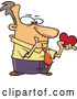Cartoon Vector of Single White Valentines Day Man Thinking and Holding a Heart by Toonaday