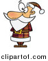 Cartoon Vector of Standing and Waiting Santa in a Brown Plaid Suit by Toonaday
