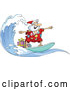 Cartoon Vector of Surfing Santa with Presents by