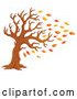 Cartoon Vector of Tree Being Stripped of Autumn Leaves in a Breeze by Visekart