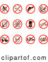 Collection Vector of Restriction Icons Showing No Running, Smoking, Guns, Fast Food, Beer, Atoms, Cell Phones, Driving, Skating, Aliens, Shoes, and Bells by AtStockIllustration