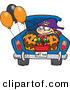 Halloween Vector of a Cartoon Trick-or-Treater Riding in the Trunk of a Car with Full Bucket of Candy by Ron Leishman