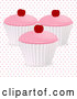 Vector of 3d Cherry Cupcakes over Polka Dots by Elaineitalia
