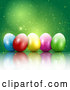 Vector of 3d Colorful Easter Eggs with Magic Sparkles on Green by KJ Pargeter