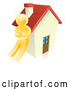 Vector of 3d Gold Guy Leaning Against a House by AtStockIllustration
