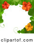 Vector of 3d Hibiscus Flower and Leaves Border by Elaineitalia