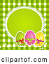 Vector of 3d Polka Dot Easter Eggs with a Blank Frame over Green Gingham by Elaineitalia