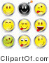 Vector of 9 Emoticons with Drop Shadows by Beboy