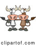 Vector of a 2 Cartoon Bull Cows Posing Together by Toonaday
