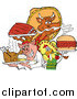 Vector of a BBQ Chef Chicken Pig and Cow Holding Ribs Roasted Bird and Pulled Pork Burger by LaffToon