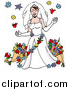 Vector of a Beautiful White Bride in a White Gown and Gloves, Wearing a Veil and Garland, Surrounded by Flowers by LaffToon