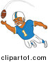 Vector of a Black American Football Player Receiver Catching a Ball by LaffToon