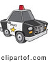 Vector of a Black and White Police Car with a Red Siren on the Roof by Ron Leishman
