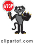 Vector of a Black Jaguar Mascot Holding a Stop Sign by Toons4Biz