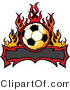 Vector of a Blank Tribal Banner Below Soccer Ball with Flames by Chromaco