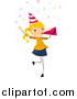 Vector of a Blond Birthday Girl Blowing a Party Horn by BNP Design Studio