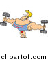 Vector of a Blond Buff Male Bodybuilder Wearing a Look at Me Shirt and Lifting Weights by Toonaday