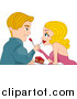 Vector of a Blond Caucasian Couple Feeding Each Other Cake by BNP Design Studio