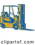 Vector of a Blue and Yellow Forklift - Woodcut Theme by Patrimonio