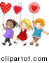 Vector of a Boy and Two Girls Walking with Hearts in a Parade by BNP Design Studio