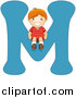 Vector of a Boy Sitting on Alphabet Letter M by BNP Design Studio