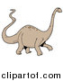 Vector of a Brontosaurus Dinosaur with a Long Neck and Tail by LaffToon