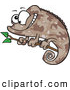 Vector of a Brown Camouflage Cartoon Chameleon Lizard Smiling on a Branch by Ron Leishman