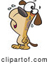 Vector of a Brown Cartoon Dog Crying by Ron Leishman