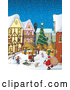 Vector of a Bustling Christmas Market with Santa and Winter Scene by